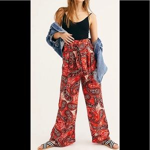 Free People red double trouble flare pants